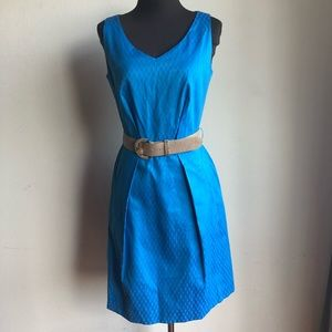 Tahari sz 4 aqua blue belted sheath